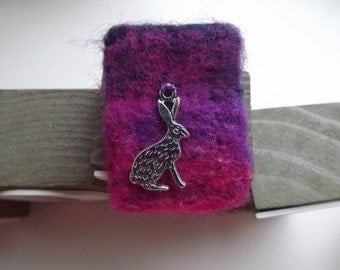Pretty, needle felted brooch with Gorgeous Hare Charm - 'Evening Time'