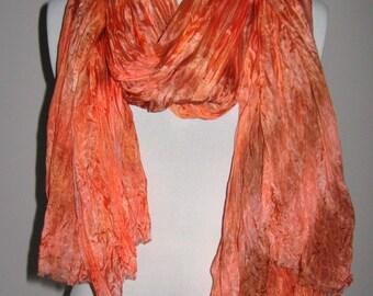 Hand Dyed Silk Shawl, Scarf, Wrap - Orange