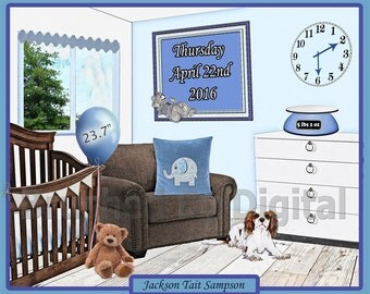 New Baby Welcome Gift - Baby Room - Nursery Art - New Baby Print - Birth Statistics - Personalized Baby Art - Name & Birth announcement