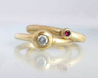 Engagement Ring, Diamond Engagement Ring,  14k Gold Ring, Gemstone Ring, Birthstone Ring, Gemstone Engagement Ring, April Birthstone Ring
