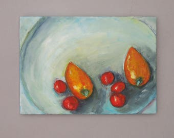 Small Oil Painting Vegetables on a Plate Tomatoes Peppers Red Orange Art Still Life Original