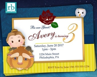 Beauty and the Beast Invitations, Beauty and the Beast Party, Tsum Tsum Party, Tsum Tsum Invitation, Tsum Tsum Birthday - Digital Printable