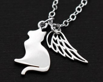 Angel Cat . Memorial Necklace . Personalized Initial . Sterling Silver . Pet Loss . Remembrance . In Memory of