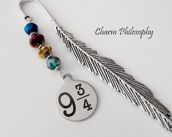 Platform 9 3/4 Bookmark - Tibetan Silver Bookmark - Stainless Steel Charm - Harry Potter Inspired Gifts