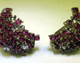 Multi Stones Genuine Ruby 14K Gold Clip Earrings