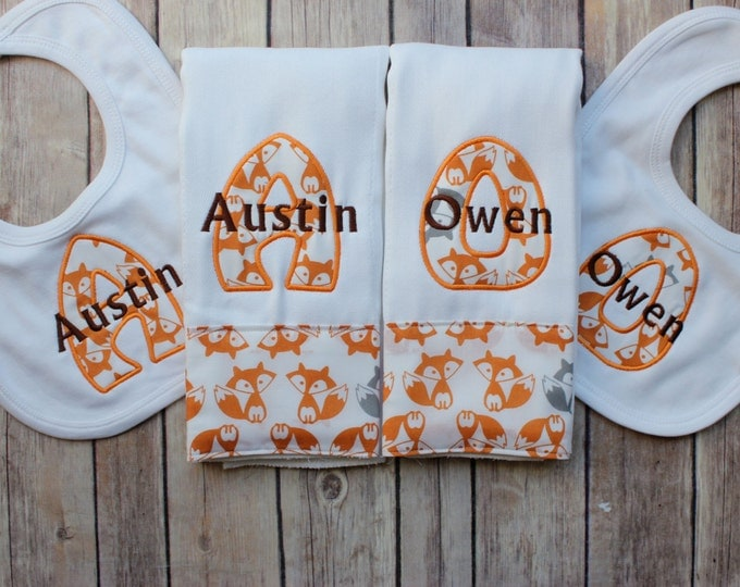 Monogrammed Boys Burp Cloth Bib Set, Monogrammed Fox Burp Cloth, Fox Burp Cloth Bib, Fox Bib, Baby Boy Fox Gift, Fox Baby Shower Gift, Baby