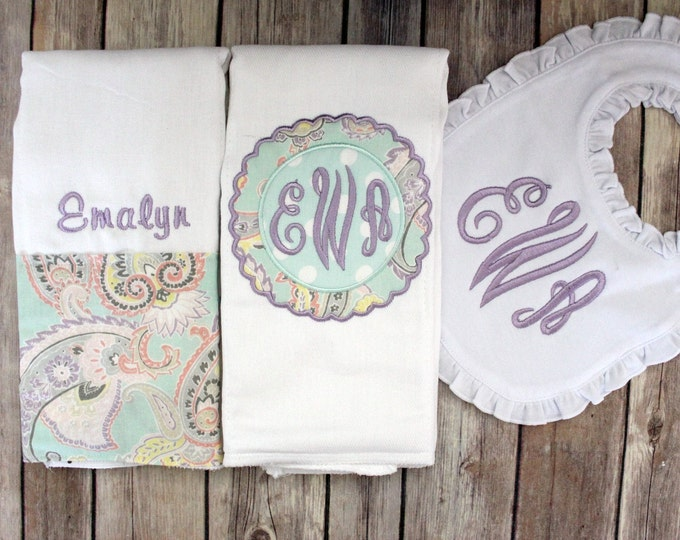 Monogrammed Baby Girl Burp Cloth Ruffled Bib, Personalized Girl Burp Cloth, Monogram Baby, Personalized Baby Shower Gift, Mint Purple Girl