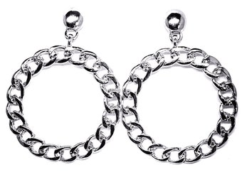 reproduction of 50s/early 60s hoop metal earrings with studds chain style