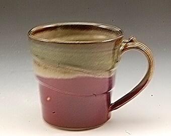 Handmade Pottery Mug Plum Red Golden brown Porcelain by Mark Hudak
