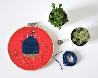 Embroidery hoop- One of a kind Artwork- The blue seed