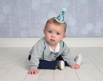 Half Birthday Party Hat    Boy Birthday Party Hat    Glitter Cake Smash   Smash Cake    Little Blue Olive