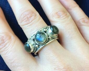 Labradorite Gemstone Tibetan ring Boho Jewelry Gypsy jewelry
