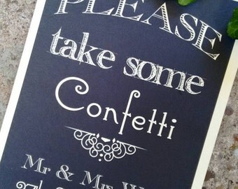 vintage chalkboard style wedding confetti sign,personalised