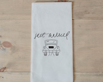 Tea Towel, Just Married, present, housewarming, wedding favor, kitchen decor, women's gift, flour sack dish cloth