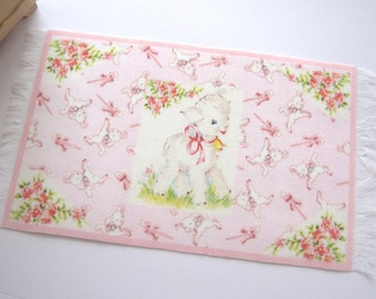 dollhouse rug / mat vintage lamb nursery design 12th scale miniature