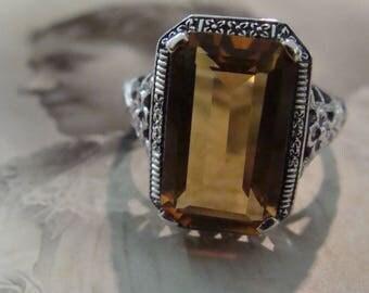 Lovely Sterling Filigree Golden Citrine  Ring  Size 7 3/4 Victorian design