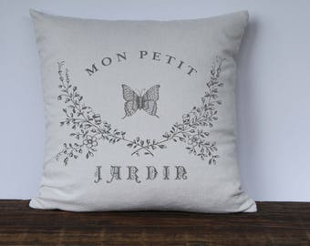 Farmhouse Pillow Cover, Mon Petit Jardin Butterfly Pillow Cover, Vintage French Farmhouse, Decorative couch pillow cover, Gray or Black