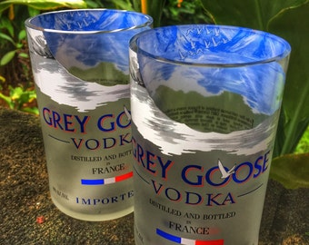 Grey Goose Glasses made from 1 Liter Grey Goose Bottles (set of 2)