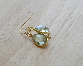 GEMSTONE DROP EARRINGS- Green Amethyst Earrings- Teardrop Gemstone Earrings in Gold or Silver