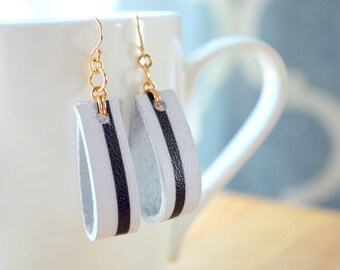 BLACK and WHITE STRIPE Leather Earrings- Black and White Leather Earrings