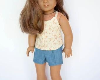 American Girl Doll sized chambray pintuck shorts - blue