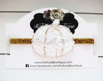 Handcrafted Glam White and Gold Pumpkin Headband - Baby Pumpkin Headband - Glitter Pumpkin Accessory- Thanksgiving Headband - Gold Fall Bows