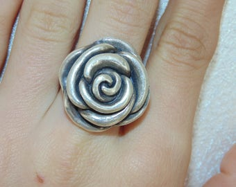 SR1625 Vintage Estate Sterling Silver Detailed Pretty Flower 3D Rose Ring US Size 8 Jewelry 925 UK P Q Jewellery For Her