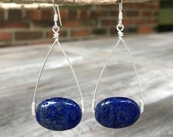 Lapis Lazuli Drop Earrings, limited edition, sterling silver wire wrapped, teardrop shape, gemstone, hand-forged