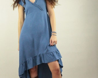 Boho dress, maxi dress in blue rayon with embroidery on the sleeve