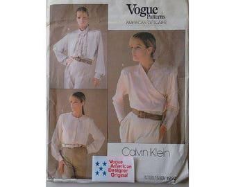 "Part UNCUT with Original Label Vogue 1792 American Designer Calvin Klein Bow Wrap Shawl Collar Shirt Blouse Sewing Pattern Bust 36"" UK 14"