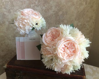 13 piece Wedding flower package in blush and off white