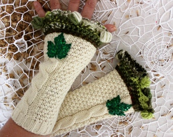 Cream gloves, Cream knit gloves, fingerless gloves, cream arm warmers, gloves green sequins, unique gloves, Christmas gifts