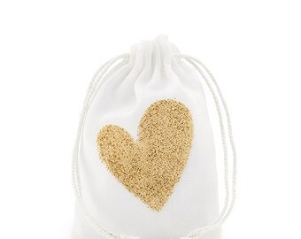 Packages of 12 Gold Glitter Heart Muslin Drawstring Favor Bag - Small