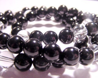Protection Black Onyx  Stretch Necklace or Bracelet Stacked, Clear Quartz Crystal, Chakra, Reiki Jewelry, Gift Idea, FREE SHIPPING