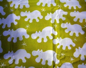 Scandinavian fabric, vintage, hippopotamus, new, green, white, children's room, Hippoprint, animals, Sweden