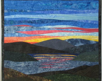 Art Quilt Sunset 50 over water with mountains, Wall Quilt, Wall Hanging, Landscape quilt, Nature