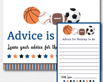 Sports Baby Shower Advice Card   Baby Advice Card   Sports Baby Shower    INSTANT DOWNLOAD