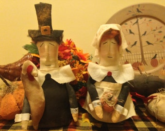 Primitive Pilgrim Couple Fabric Doll Figures, Stump Doll Thanksgiving Pilgrims