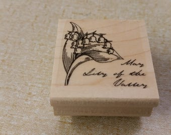 On Sale Never Used May Lily of the Valley Wooden Rubber Stamp for Scrapbooking or Card Making