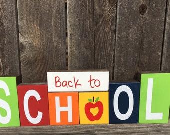 Back to school blocks-Teacher appreciation,school wood blocks,apple, Teacher wood blocks