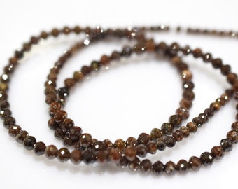 54 ct very beautiful Natural Red Sand Color Diamond Faceted 2.90 to 4 mm, Real Diamond Beads Necklace 18 inch strand