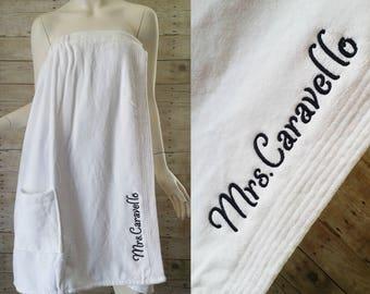 Monogrammed Spa Wrap - Bridesmaid Wedding Party Wrap - Personalized Towel Wrap - Monogrammed Bridesmaid Gift - Plus Size Wrap