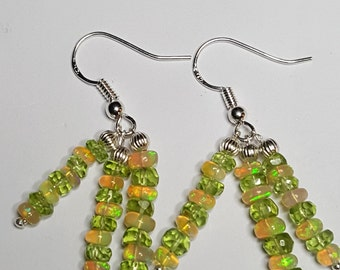 14.40ctw Peridot & African Fire Opal Sterling Silver Bead Earrings