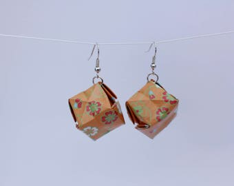 SALE Origami Box Earrings - Orange Floral