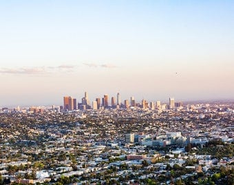 Los angeles photography, L.A. skyline, california photography, griffith observatory, large wall art, cityscape, la la land, purple, aerial