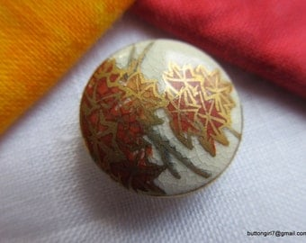 0153 – Lovely Satsuma Autumn Leaves Vintage Small Button