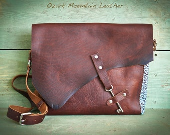 Bison and Turquoise Leather Skeleton Key Bag