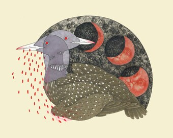 Common Loon with Lunar Eclipse Illustration
