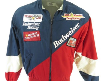 Vintage 80s Budweiser Racing Jacket Mens L NHRA Winston Drag Racing USA Patches [H51F_1-1]