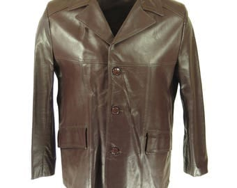 Vintage 70s Fight Jacket Mens 40 Deadstock Brown Leather 3 Button [H03I_3-3]
